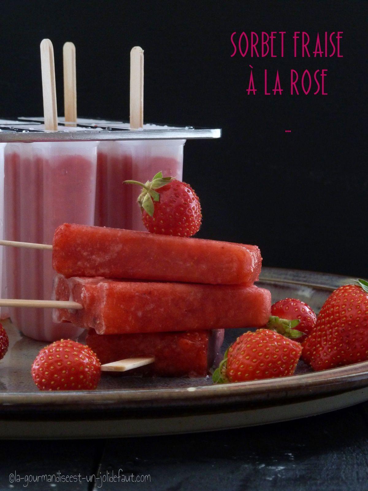 Sorbet fraise à la rose