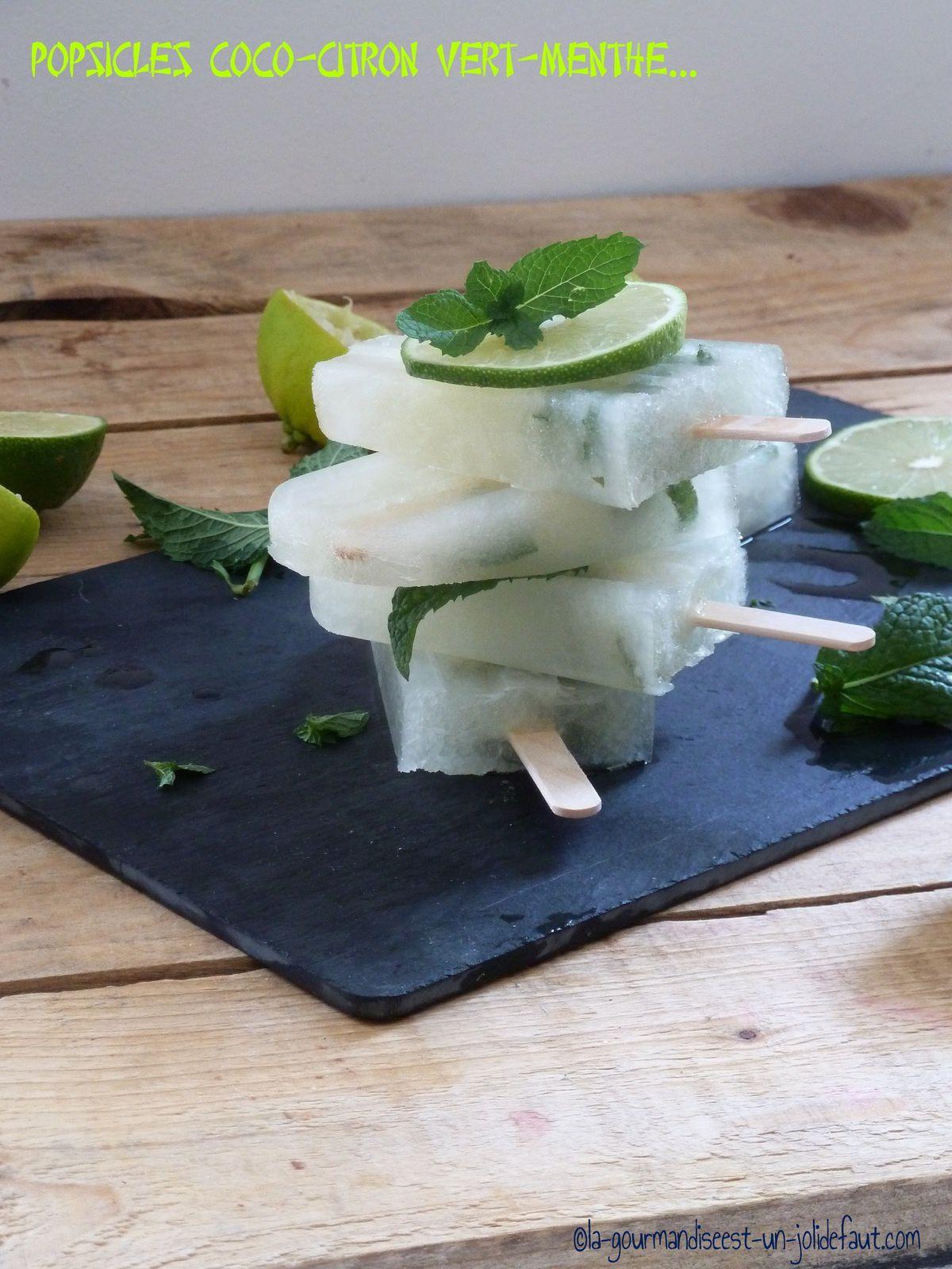 Popsicles citron vert coco menthe {spécial canicule}