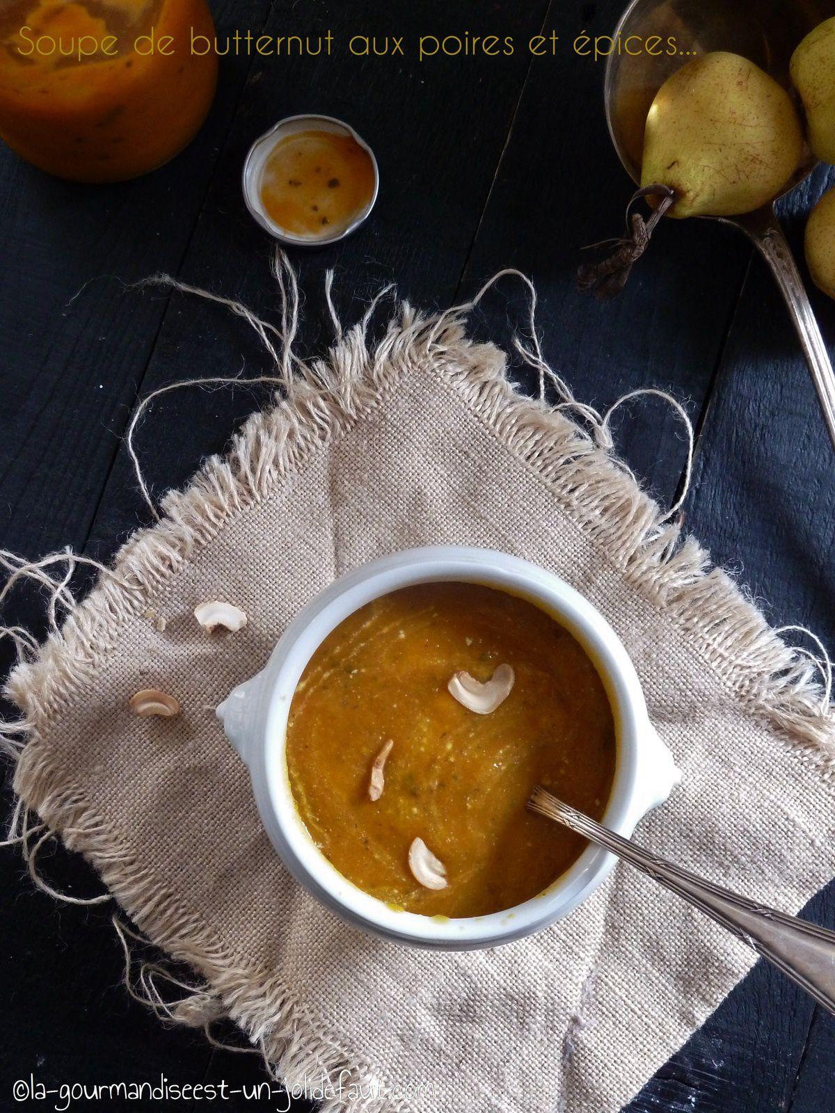 Soupe de butternut aux poires et épices