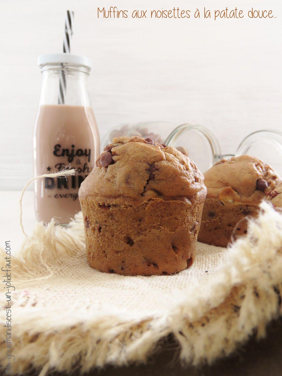 Muffins à la patate douce, noisettes et chocolat
