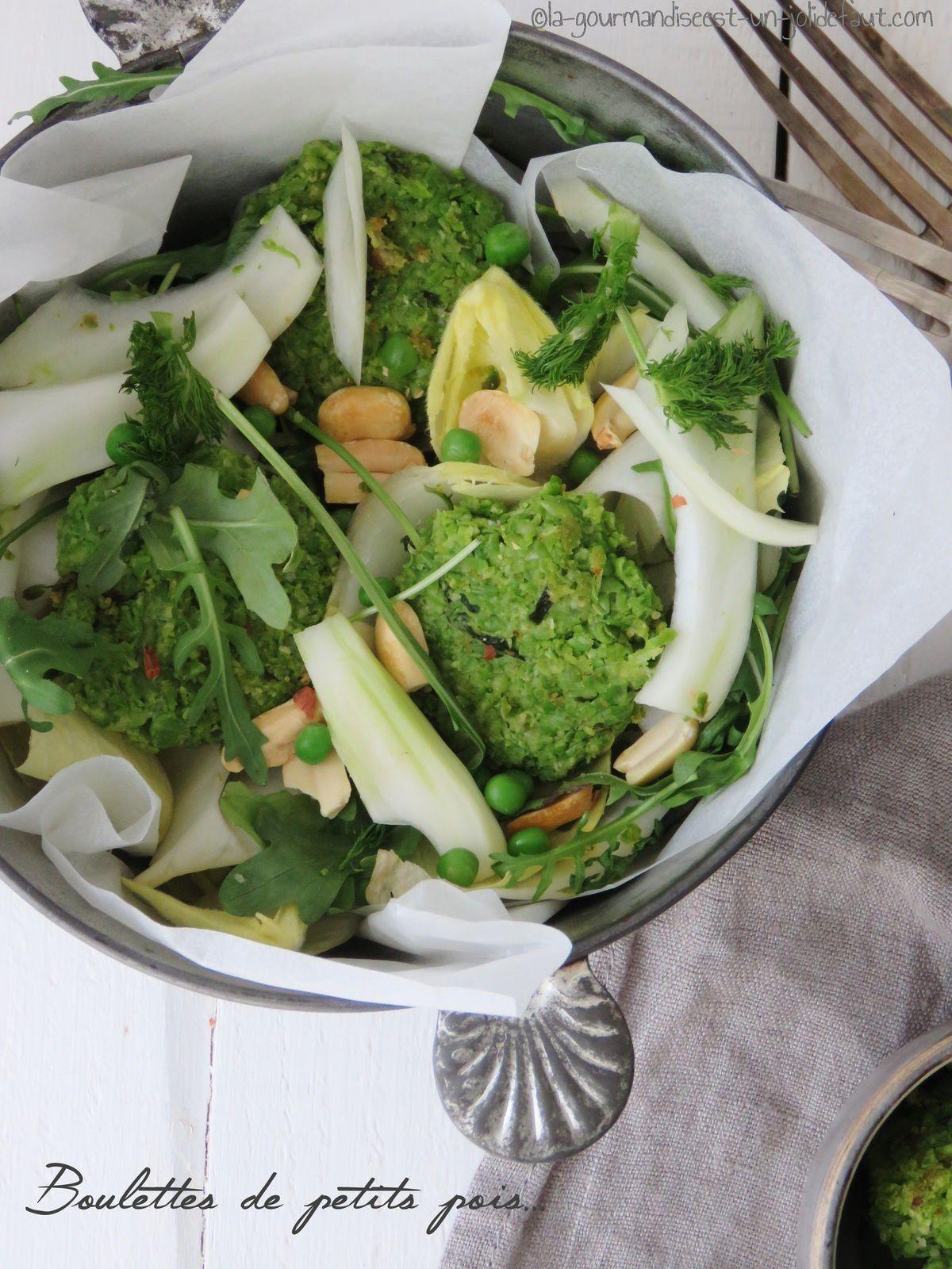 Boulettes de petits pois à l'estragon et bonus salade