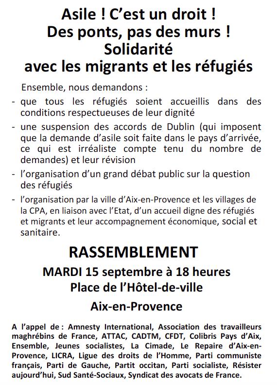 15 septembre : rassemblement en solidarité avec les migrants et les réfugiés