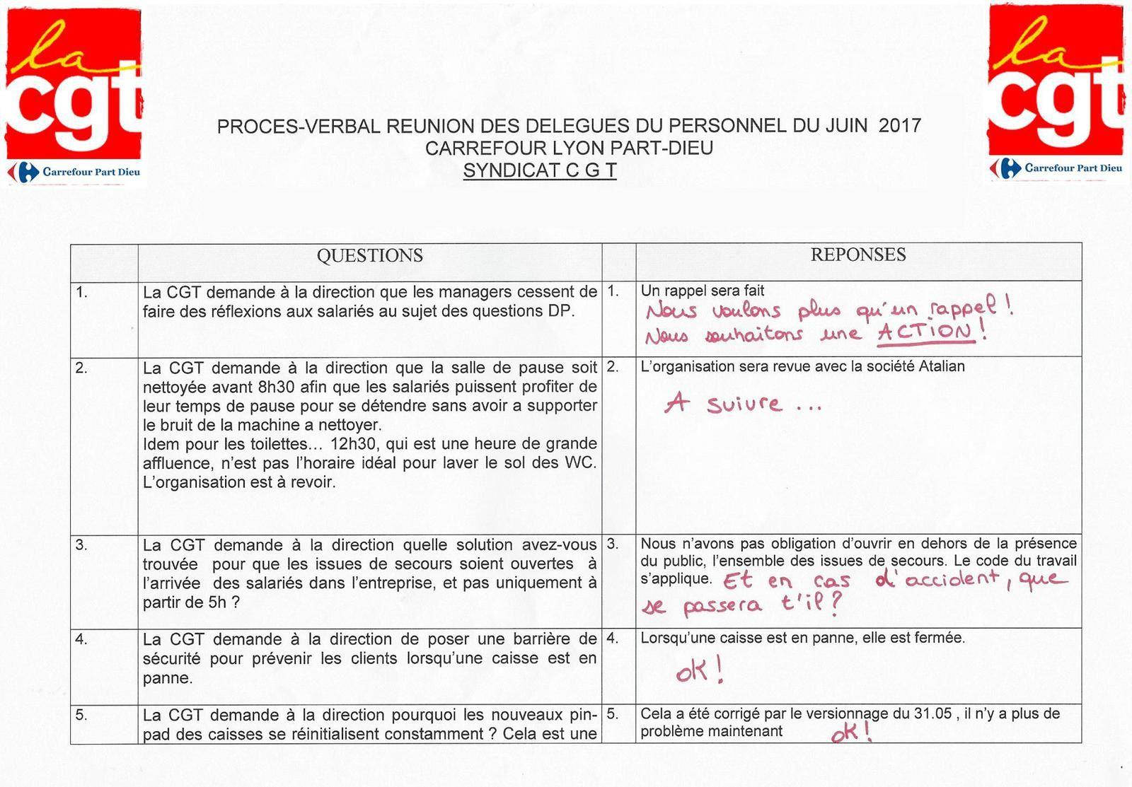 Voici les questions DP du mois de Juin 2017, avec les réponses la direction, et les commentaires de l'équipe CGT ! Bonne lecture !!