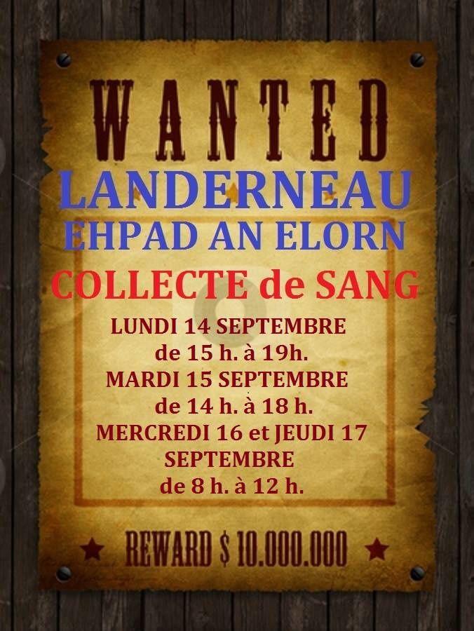 Le don du sang s'annonce sur LANDERNEAU avec une affiche originale: