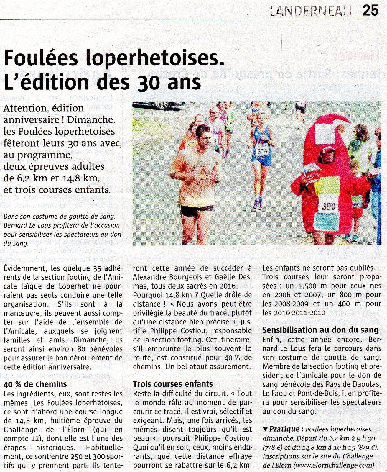 La GOUTTE DE SANG en photo dans le journal pour annoncer les FOULEES LOPERHETOISES, ce dimanche 11
