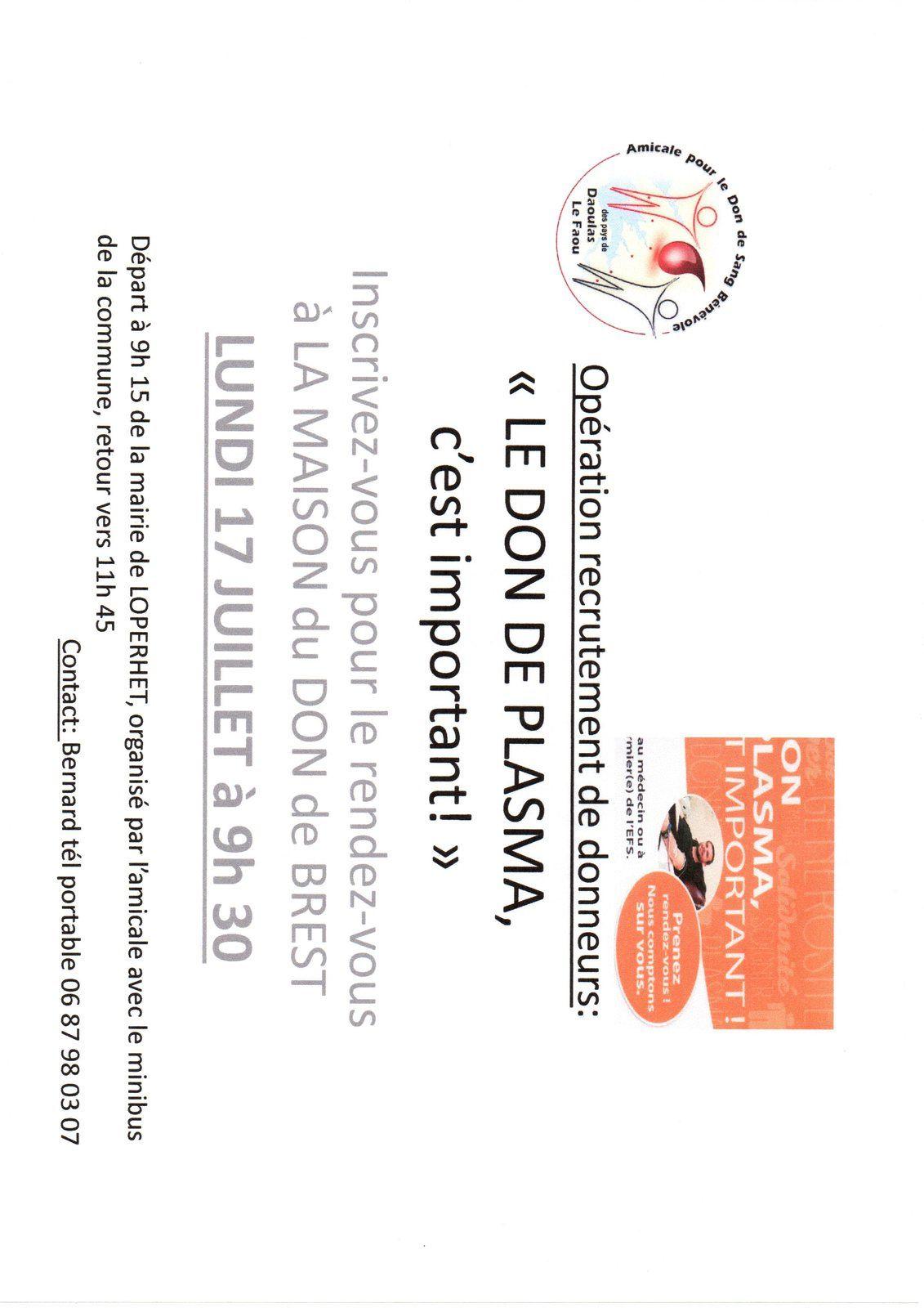 Opération PLASMA demain à LOPERHET pour la collecte!