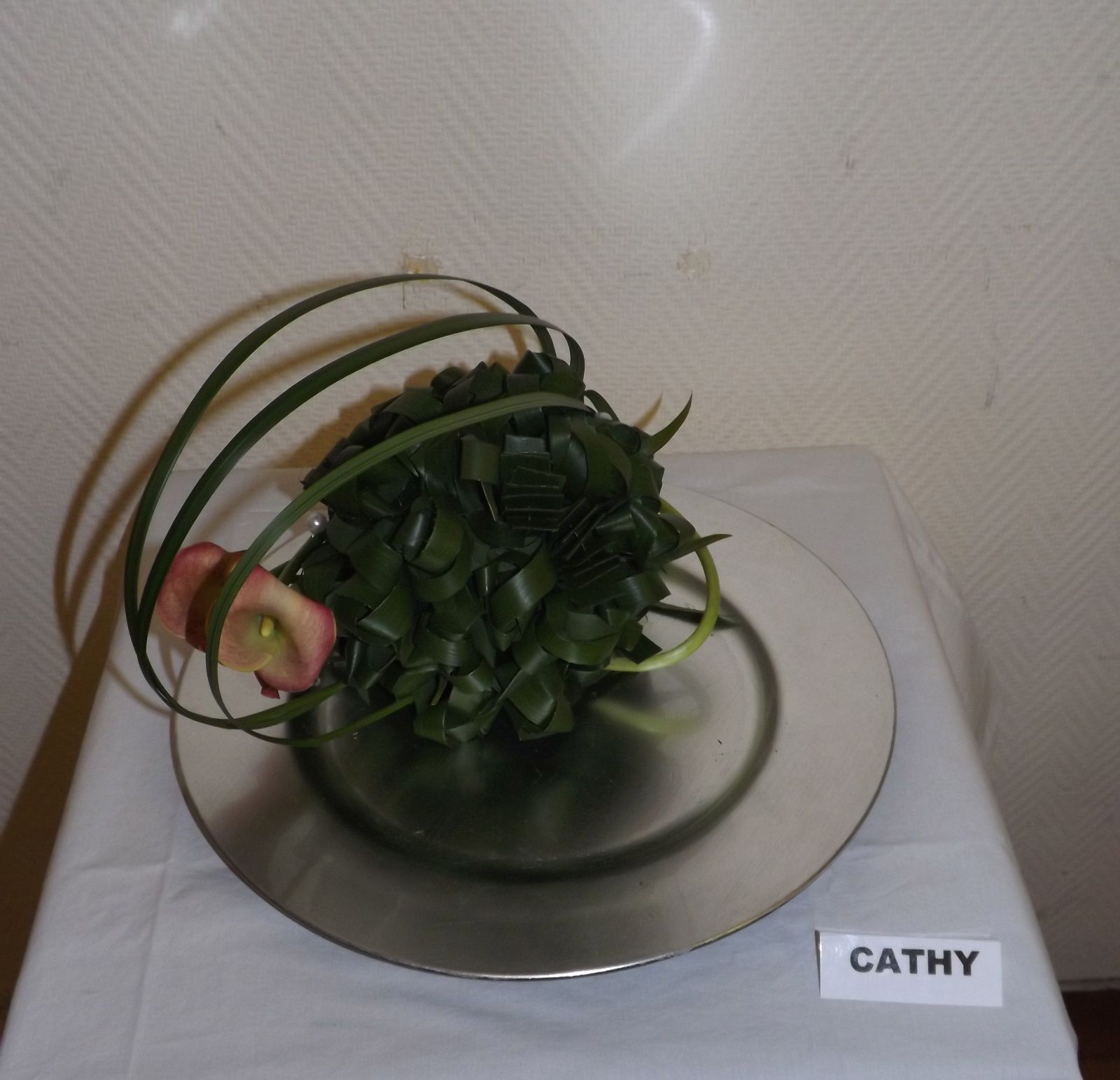 Feuilles de Cordyline verte, Lilly Grass, Calla de notre pays.