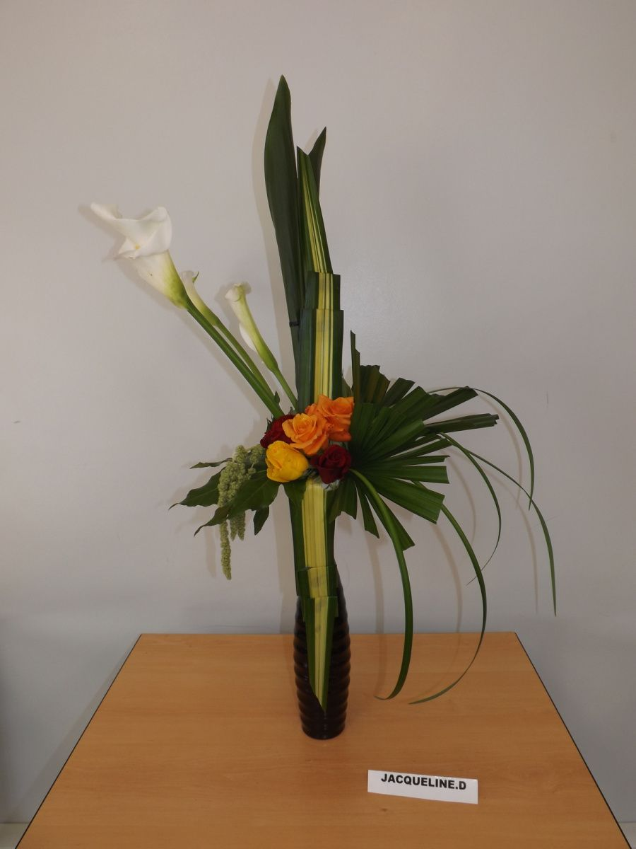 Arum,roses, chamerops hollande, pandanus, lilly grass, aralia, amaranthes