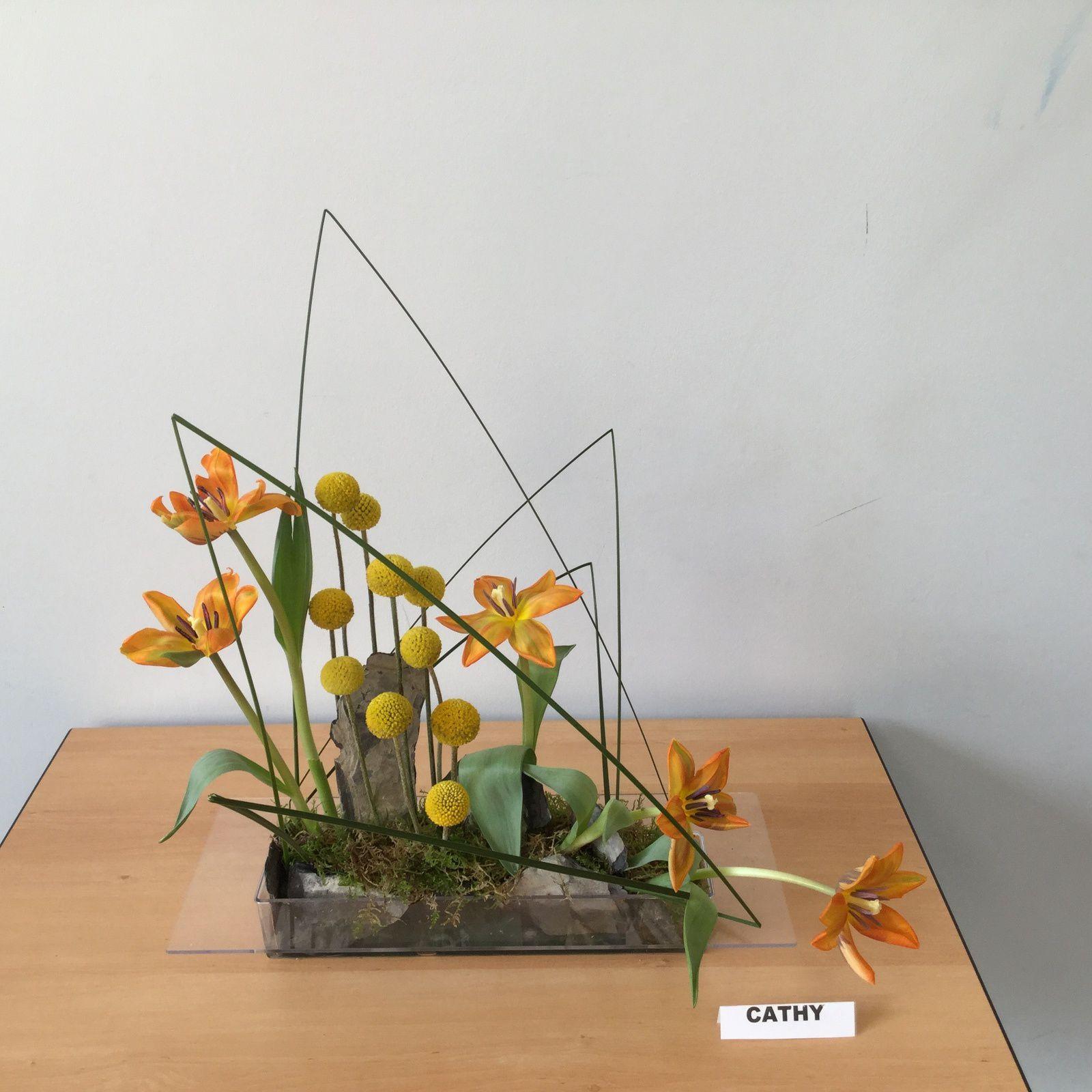 Craspedia, Steel -grass, Tulipes, Mousse des bois, Ardoise