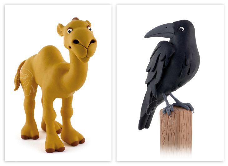 Dromadaire & corbeau (pâte polymère) - pour Bourrelier éducation