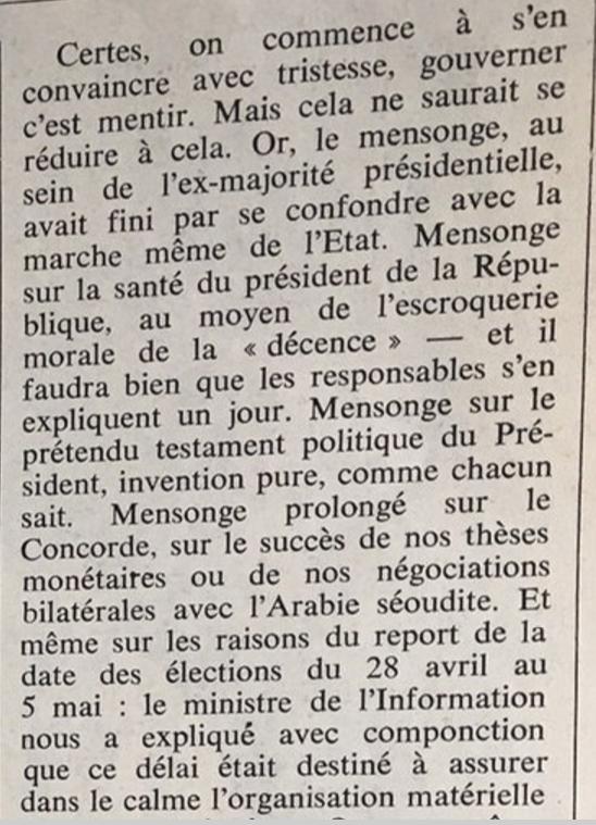 en 1974 Jean François REVEL se demandait : Gouverner est-ce mentir  ? toujours d'actualité ?