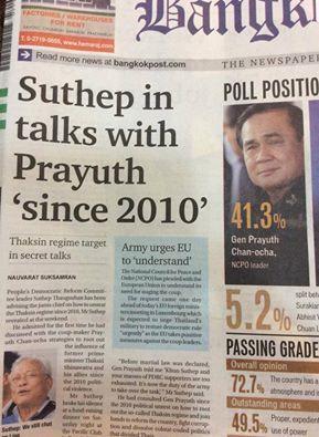 La première page du journal Bangkok Post où Suthep affirme que le coup d'Etat était prévu depuis 2010
