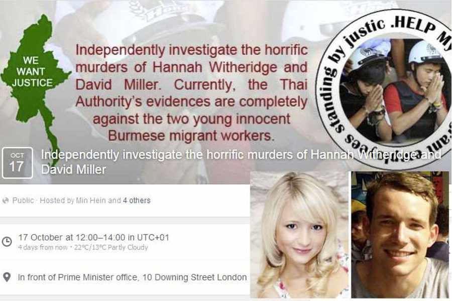 Double-meurtre de Koh Tao: Manifestation à Londres vendredi prochain pour réclamer la mise en place d'une enquête indépendante