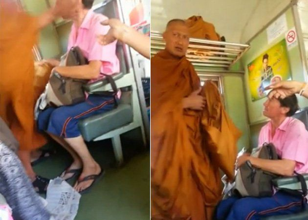 Un moine bouddhiste gifle un touriste occidental dans un train