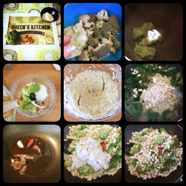 cavatelli con pesto di broccoli mandorle e pecorino con cuore di burrata