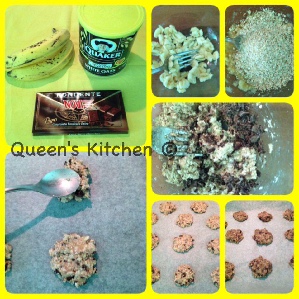 biscotti con avena, banane e cioccolato fondente