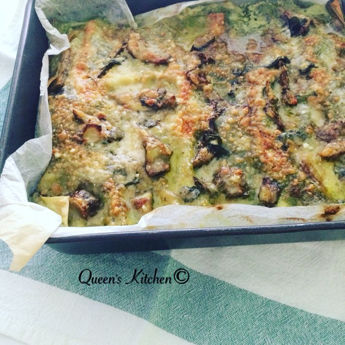 lasagne con pesto di basilico stracciatella e carciofi