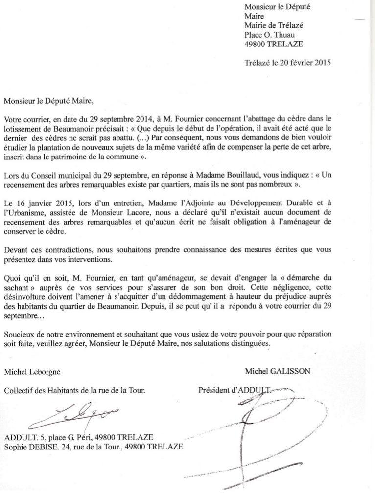 Cèdre de beaumanoir : Courrier à M. Le Député Maire.