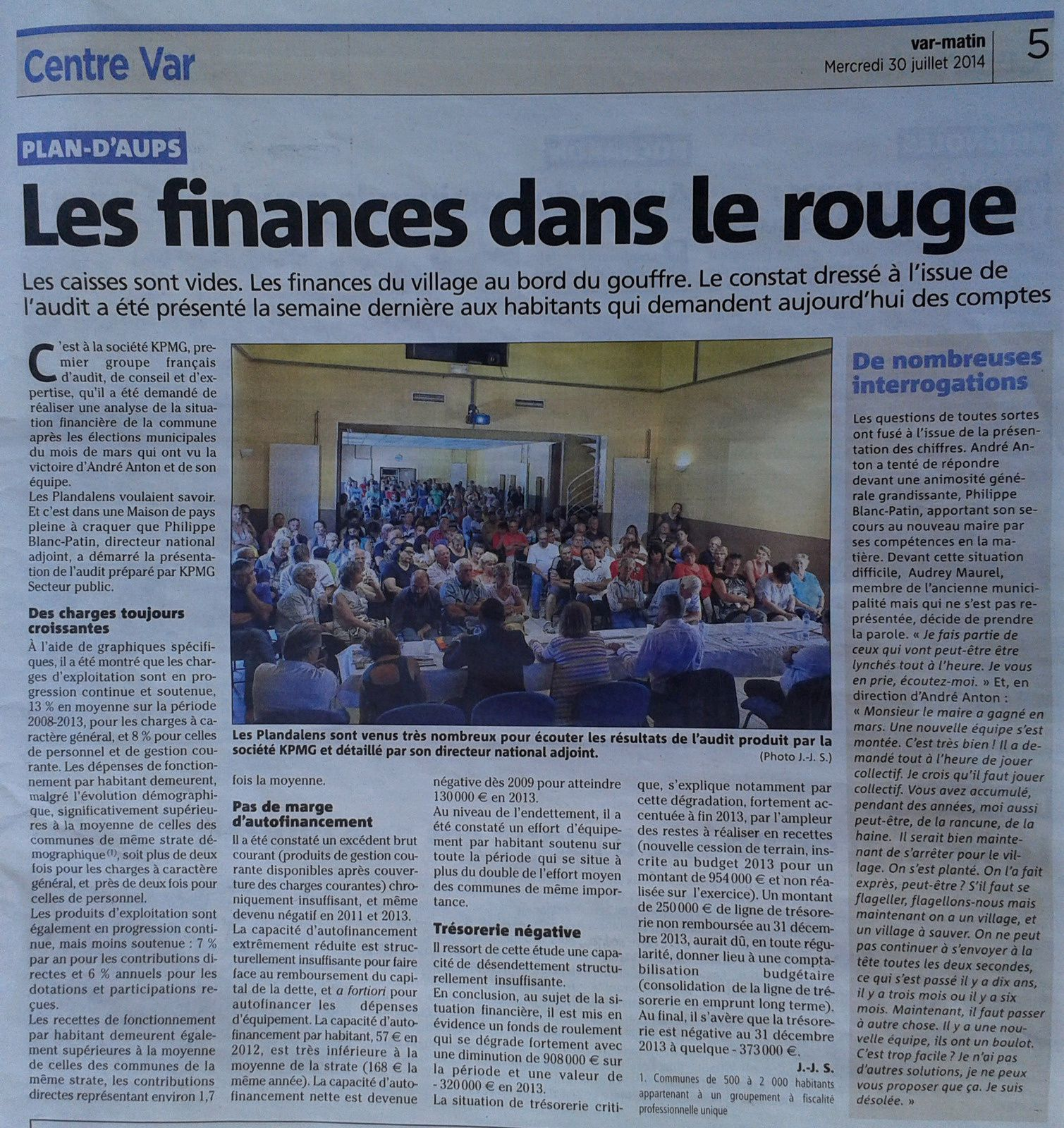 Article Var Matin centre Var