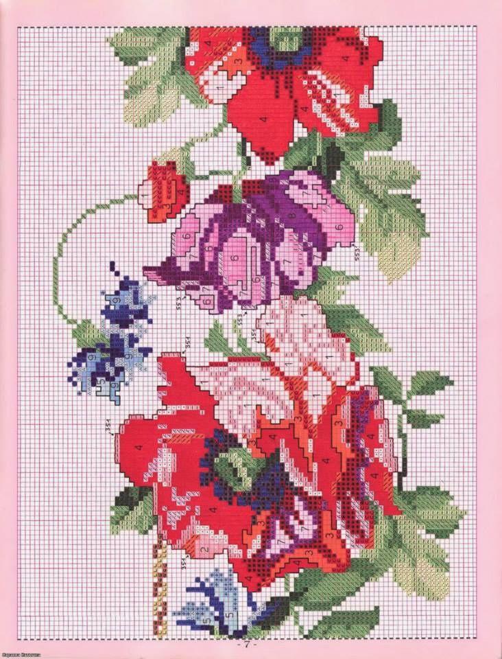 Une nappe fleurie en point de croix