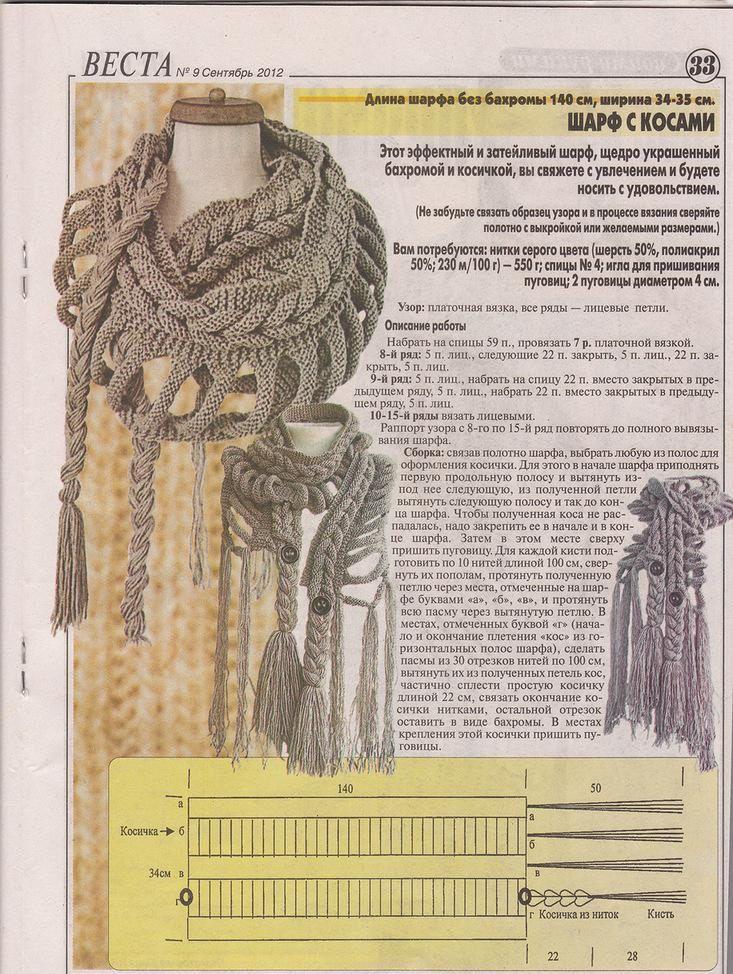 Écharpe et bonnet tresse au tricot