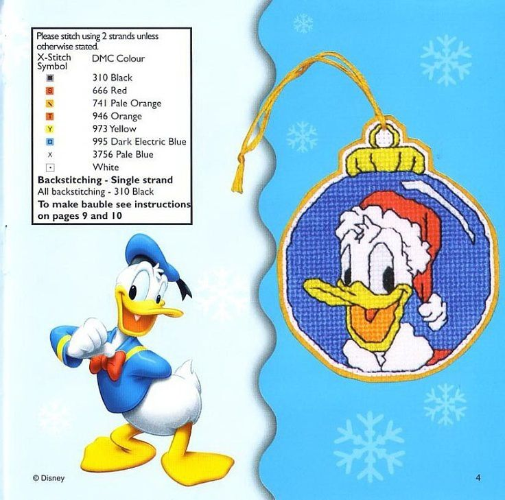 Donald de Disney au point de croix