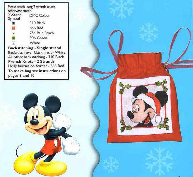 Mickey père Noël au point de croix