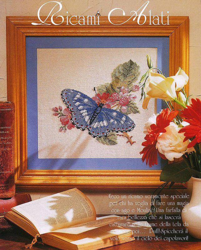 Tableau papillon au point de croix