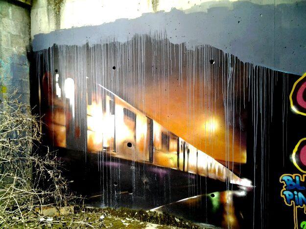 six photos d oeuvres prises dans une  maison en ruines a Floirac, quel talent !