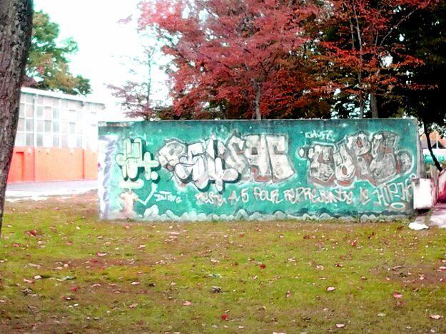 l affiche du musee de la création Franche à Bègles,en rouge,  le mur proche salle de sport,en vert, en bleu un nuage à Eysines