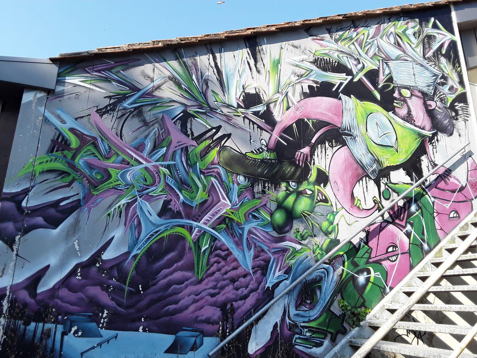 Balade en passant par le parc au niveau du skate park, une immense fresque puis sous le pont, plus graffitis