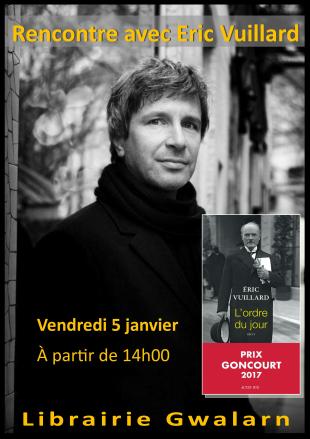 Bonjour, C'est à nouveau la librairie membre du fan club du Goncourt 2017.... Petite précision : Eric Vuillard sera à la librairie à partir de 14h ce vendredi... et repartira vers d'autres aventures à 17h. Alors, vendredi, écourtez la sieste et rejoignez-nous. Assurément, nous allons passer un très bel après-midi tous ensemble !