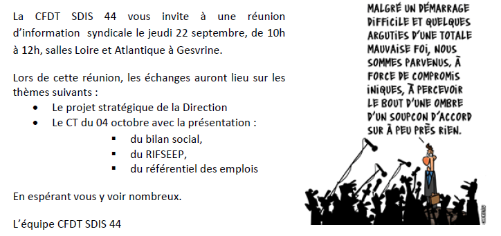 RAPPEL :Invitation heure mensuelle d'information syndicale