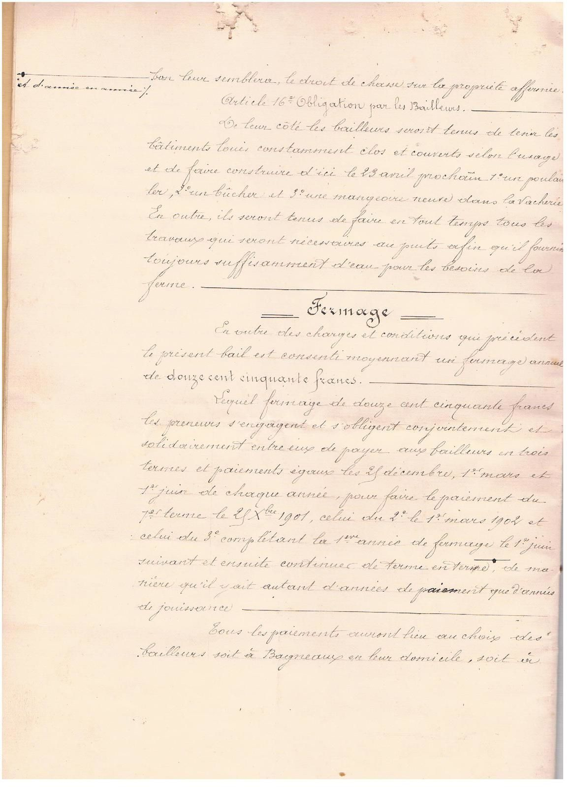 Documents acte notarial : famille COLLOT . LECOURTIER