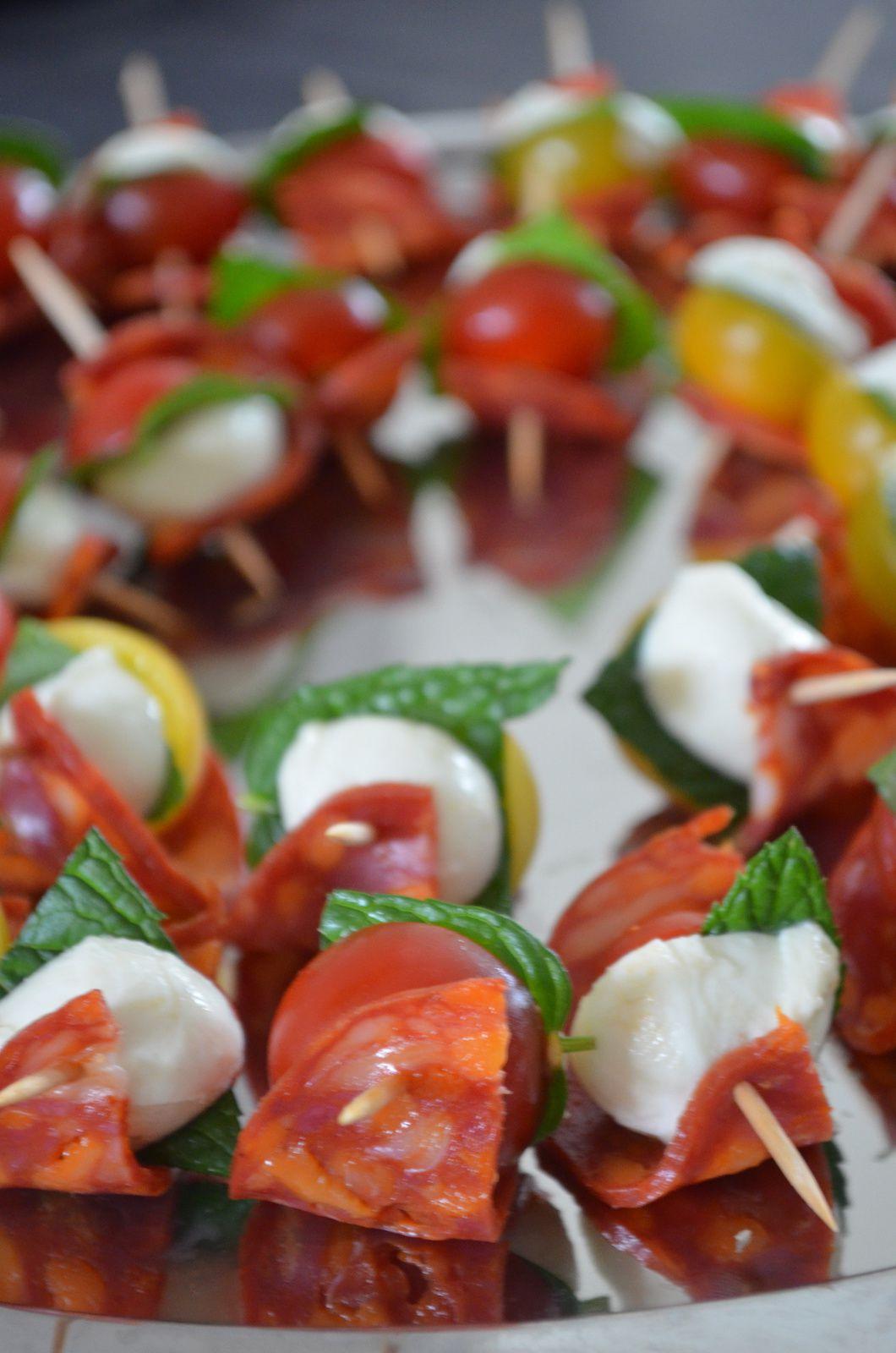 Brochettes apéritives chorizo-tomates cerises