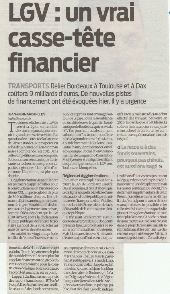 Article Sud-Ouest 1-04-2016 - Jean-Bernard Gilles
