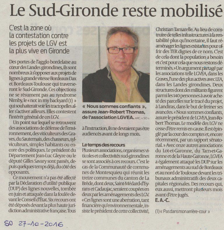 Article Elisa Artigue-Cazcarra - Sud Ouest 27-10-2016