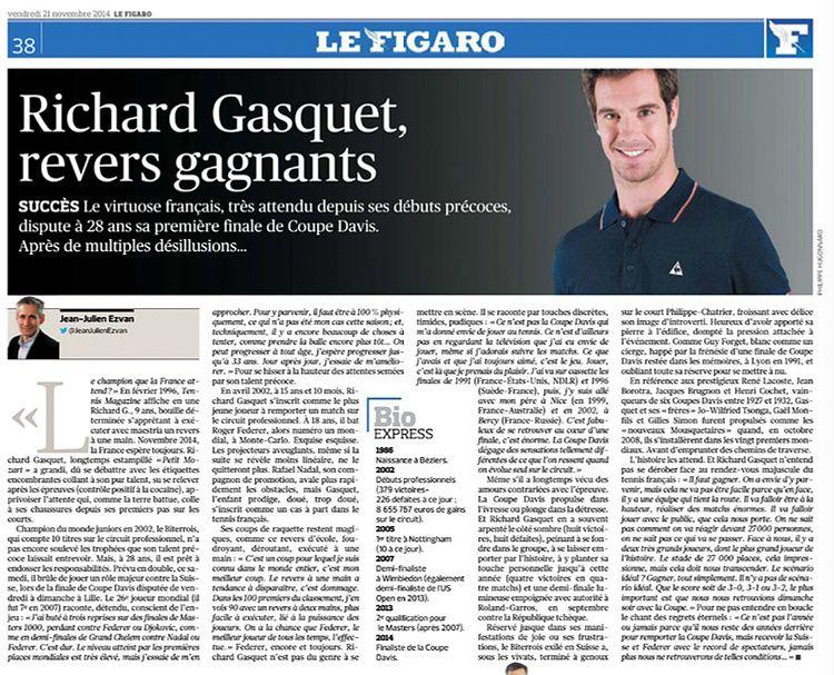 Journal Le Figaro / Richard Gasquet
