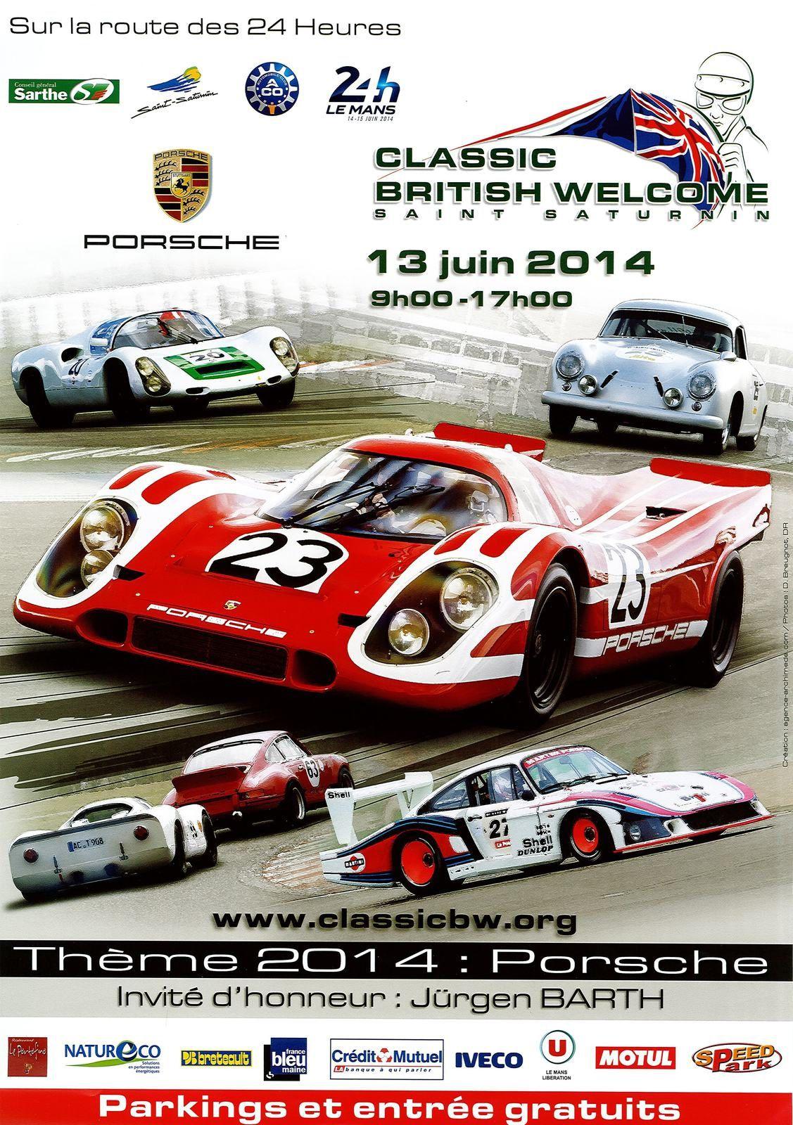 Affiche CLASSIC BRITISH WELCOME 2014 (saint saturnin, sarthe, 24H du Mans)