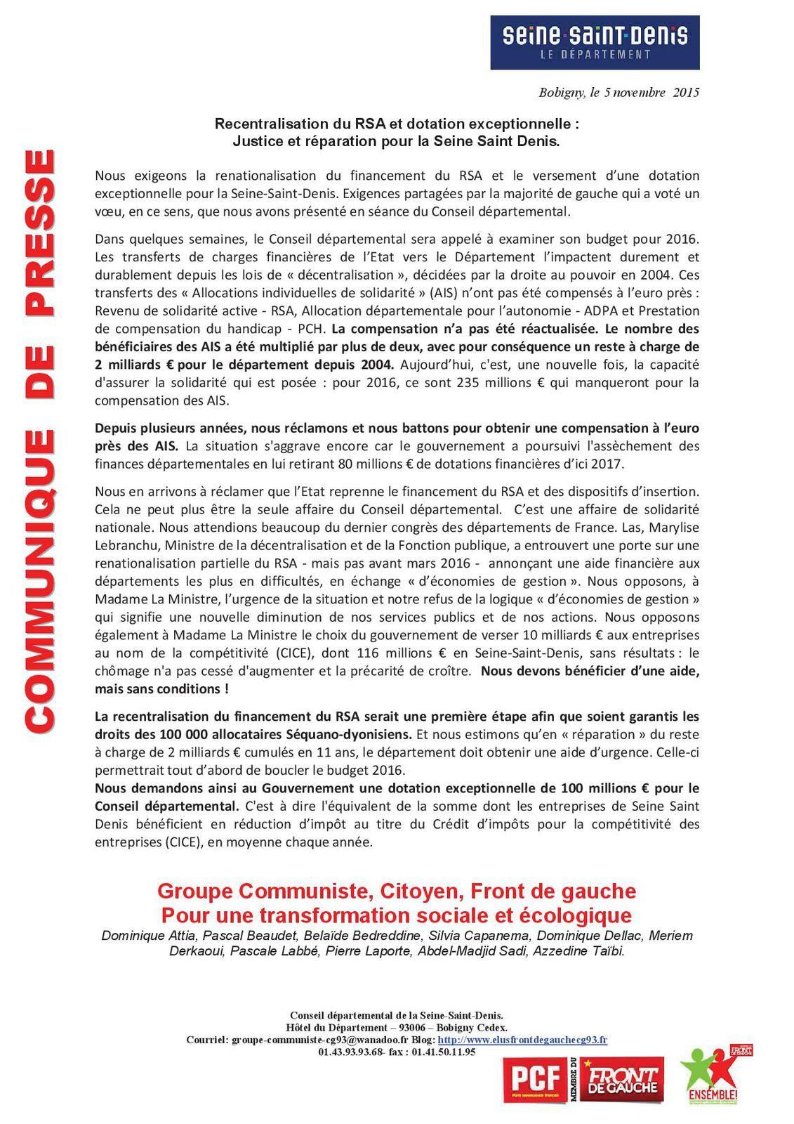 Recentralisation du RSA et dotation exceptionnelle :  Justice et réparation pour la Seine Saint Denis.