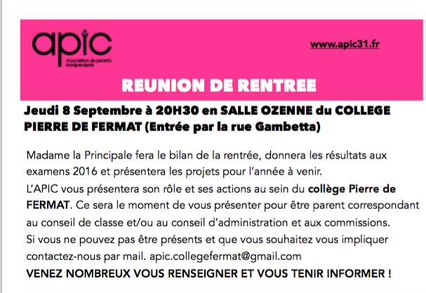 COLLEGE PIERRE DE FERMAT : REUNION DE RENTREE