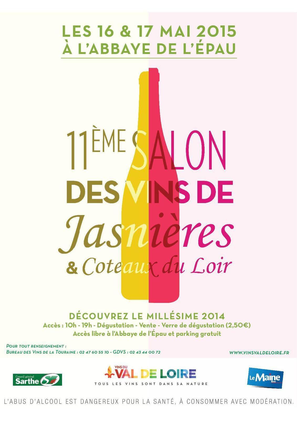 Salon Coteaux du Loir et Jasnières: 16 et 17 Mai 2015 à l'Abbaye de l'EPAU
