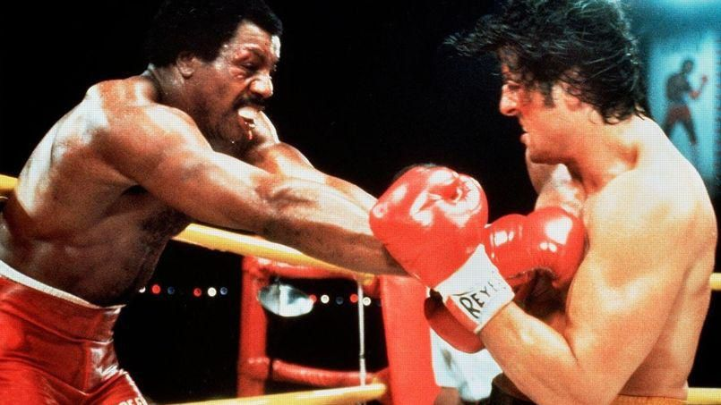 "Carl Weathers (Apollo Creed) et Sylvester Stallone (Rocky Balboa) dans ""Rocky II"" (1979)"