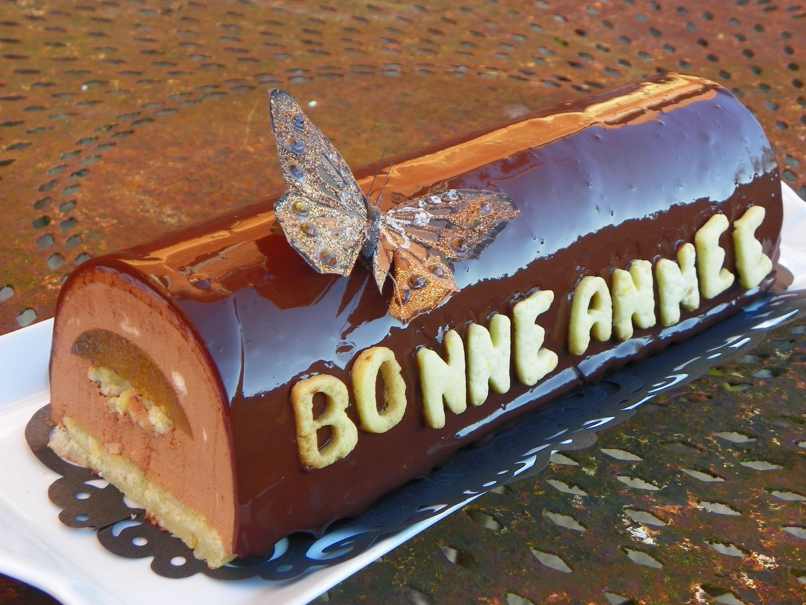 Ma bûche du nouvel an (chocolat avec insert orange)