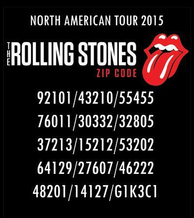 Voici les codes postaux des villes choisies par Les Stones pour le Zip Code Tour North America !