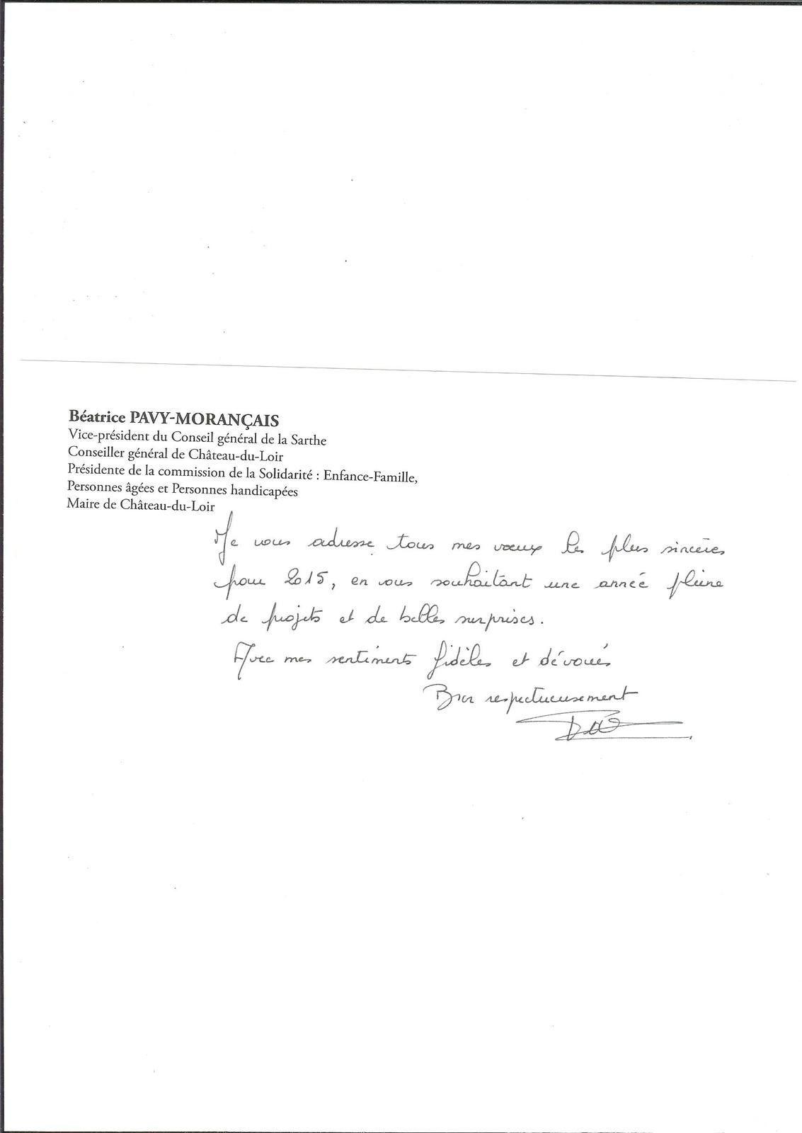 Les voeux de Madame Béatrice Pavy-Morençais , 2015.