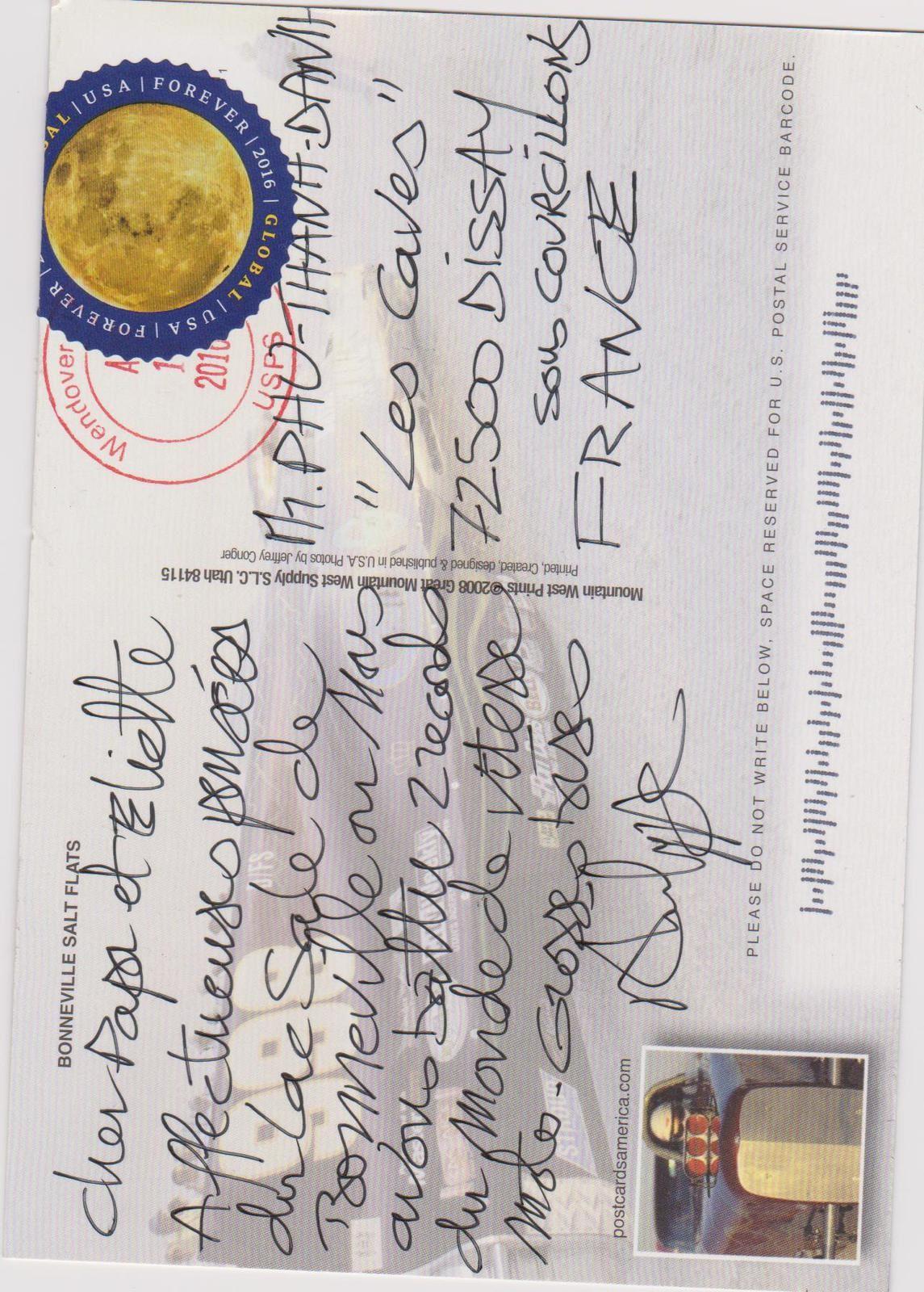 J'ai reçu ajourd'hui une jolie carte postale...