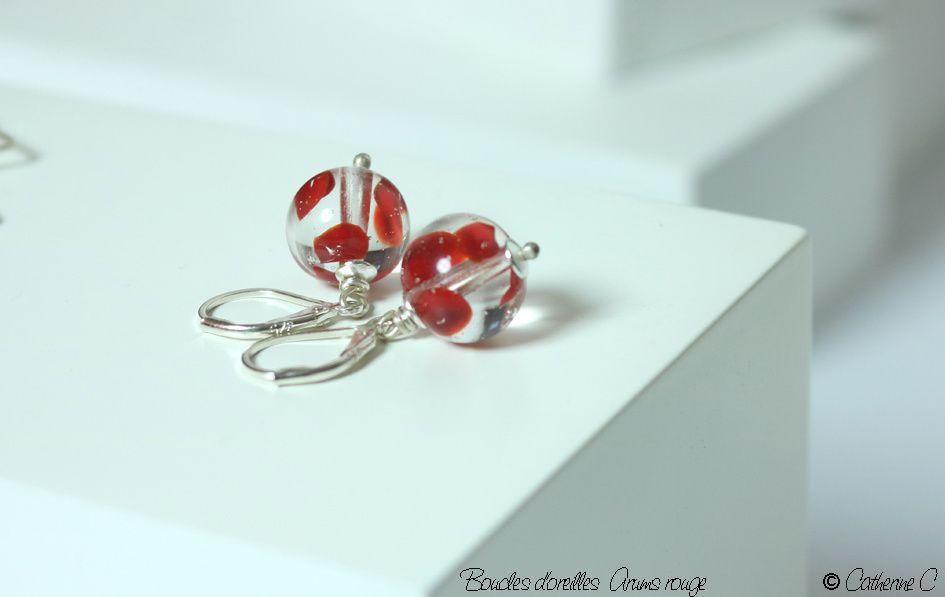 Boucles d'oreilles Arums rouge rondes