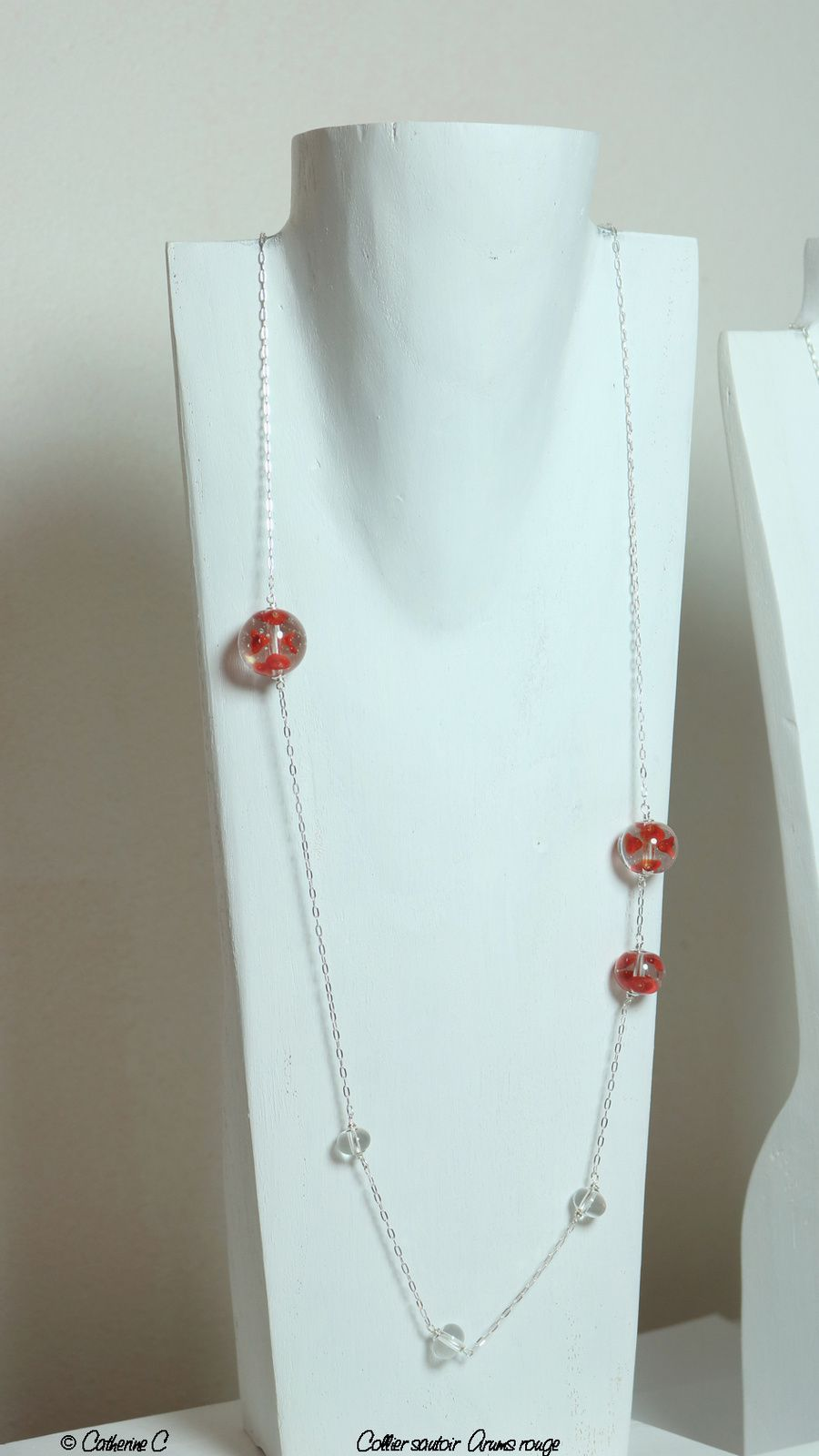 Collier sautoir Arums rouge