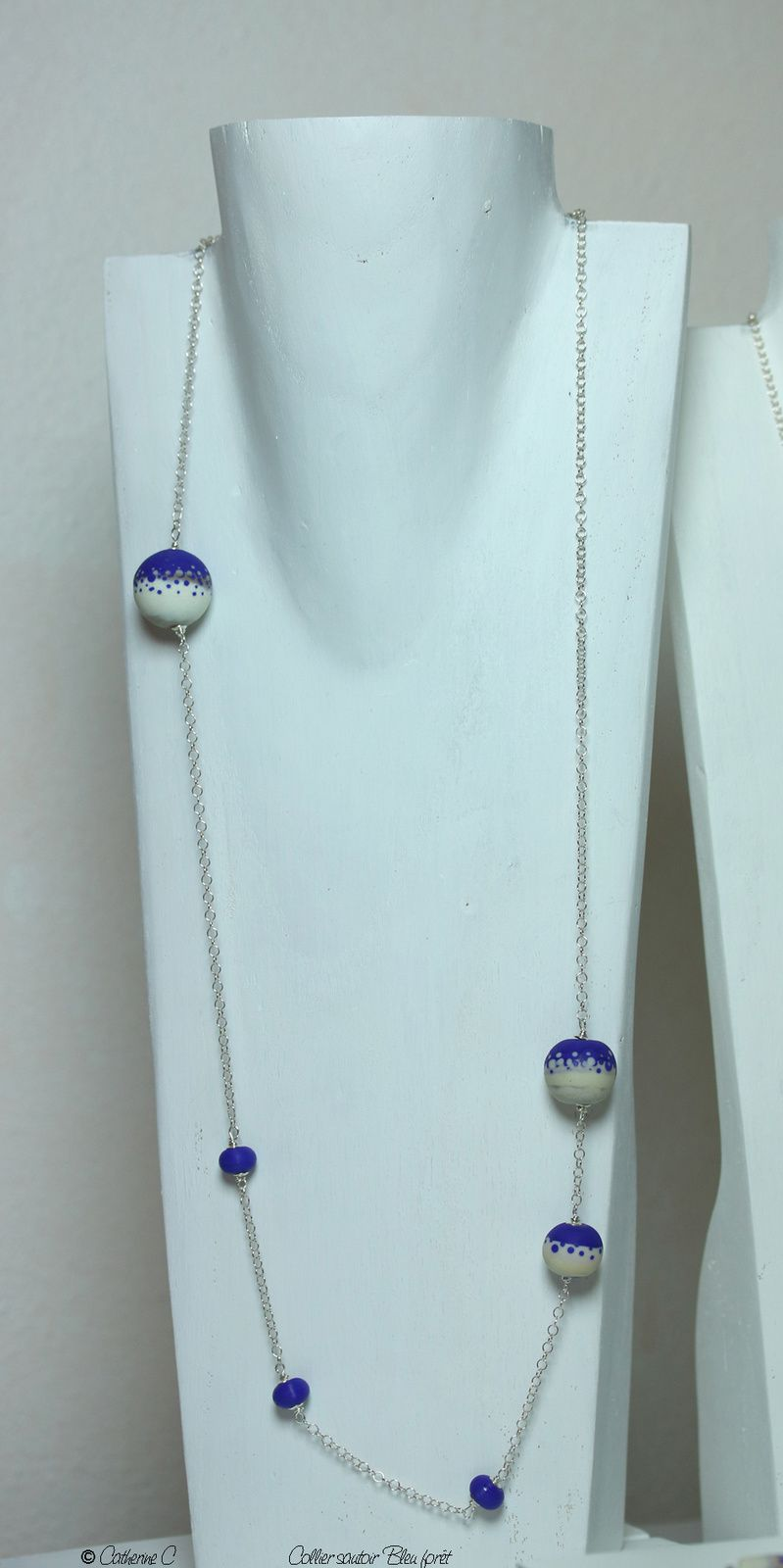 Collier sautoir Bleu forêt